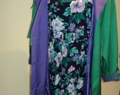 Vibrant Vintage Coat and Dress Combination in Near Mint Condition, Late 1980's, Early 1990's Style Outfit with classic timeless appeal