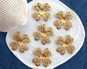 Raw Brass Flower Stampings, Brass Stampings, Metal Stamped Flowers, Vintage Style Metal Flowers, Made in USA ~  STA-183
