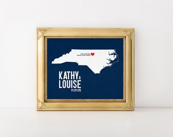 North Carolina Personalized Wedding Art, State Map Print, Bride & Groom Names and Date, Any State Available, Choice of Colors