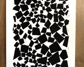 Modern Geometric Shapes 11 x 14 Linocut Block Print - Modern Art - Contemporary Art - 1-8030