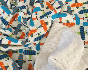 Organic Baby Blanket in Robert Kaufman Fabric by Ann Kelle Ready Set Planes READY TO SHIP!!
