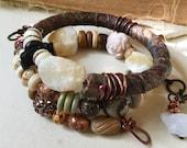 Rustic boho wrap bracelet with yellow jade and tribal beads | raw stone, rough stone, memory wire wrap, rustic tribal, sari silk