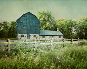 Barn Photograph, Country Photography, Rustic Home Decor, Modern Farmhouse Wall Art, Green Nature Picture, Landscape Print, Farm Photo