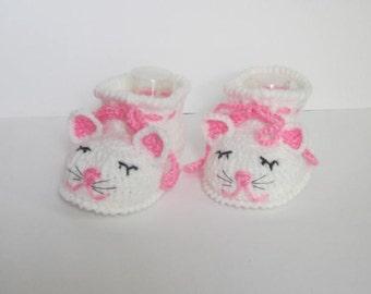 Crochet Cat Baby Booties, Kitty Cat Baby Girl Booties, Baby kitty shoes, Kitty Cat Slippers, Bay Crib Shoes, Crochet baby kitty booties