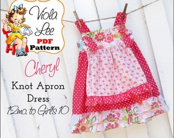 Cheryl...Girl's Ruffle Apron Knot Dress Pattern. Jumper Pattern. Toddler Dress. INSTANT DOWNLOAD. Girl's Sewing Pattern. pdf Pattern.
