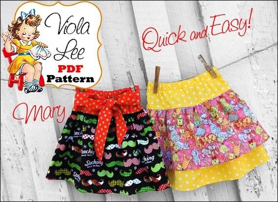 Mary Girl's Twirl Skirt Pattern. Toddler Ruffle Skirt Pattern. PDF Sewing Pattern, Baby Sewing Pattern. Toddler Skirt Pattern pdf. Digital