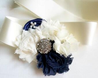Navy Blue Flower Girl Sash, Bridal Sash, Maternity Sash, Satin Bridal Sash, Flower Sash, Custom Sash, Bridal Belt, Bridesmaid Sash