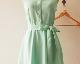 DOWNTOWN - Modern Vintage Mint Green Shirt Dress Summer Dress Sundress Mint Bridesmaid Dress Midi Dress Casual Dress Party Dress