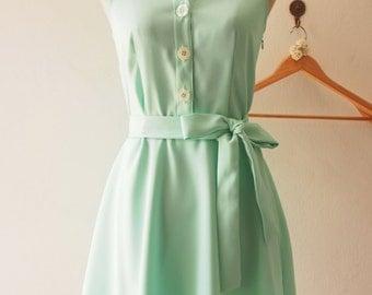 DOWNTOWN - Mint Green Shirt Dress, Mint Bridesmaid Dress, Midi Dress Casual Dress, 1950 Inspired Dress, Vintage Party Dress, XS-XL,Custom
