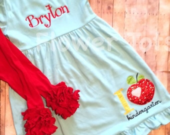 Back to School Dress, I Heart Preschool - first grade, kindergarten, personalized, applique, monogram, applique, custom