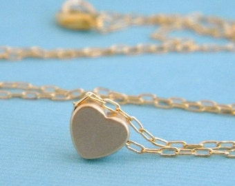 gold heart layering charm necklace