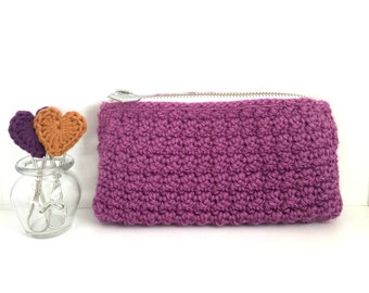 Crochet Clutch Case: Orchid Purple - Purse. Modern chic. Bridesmaid Gift.  Gifts for Mom. Wallet. Crochet Trends. Makeup Case. Cosmetic Case