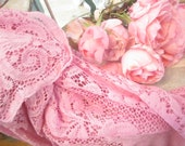Pink vintage  lace tablecloth shabby chic overdyed pink romantic cottage