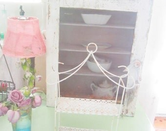 Shabby chic Vintage white chippy metal  shelf  shabby chic cottage prairie