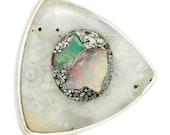 Ethiopian Opal Druzy Gemstone Ring Solid 925 Silver Jewelry Size 5.5 STUNNING!  SALE!