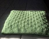 NEW ITEM - Hand Knit Large Baby / Toddler Blanket - Honeydew