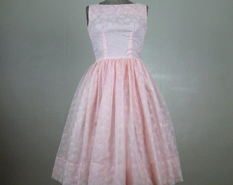 Vintage 1950s Dress 50s Pink Flocked Organza Full Skirt Party Prom Dress Size 4/S
