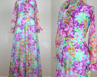 Vintage 1960s 1970s Floral Dress 60s 70s Bright Bold Floral Print Crepe Floor Length Hostess Gown by Henry Lee Size 8/M