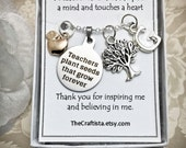 Personalized Teacher Necklace, T12, Teacher Theme Necklace, Teachers Gift, Teacher Appreciation Gift, Apple Charm, Teacher Charm, Tree Charm