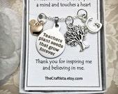 Personalized Teacher Necklace, T12, Teacher Theme Necklace, Teachers Gift, Teacher Appreciation Gift, Apple Charm, Teacher Charm, Tree Charm