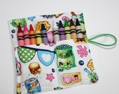 Crayon Rolls Party Favors, made from Shopkins fabric, holds 10 crayons, Birthday Party Favors