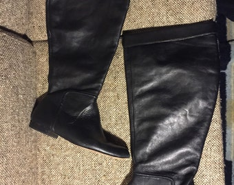 Vintage Black Leather Slouch Knee high Boots sz: 7M Women