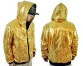 Men's Gold Sequin Hoodie Sweatshirt