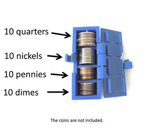 Coins Tube - 3D Print - 10 Colors Available
