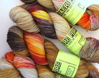 Hand Dyed Fingering/Sock Sparkle Yarn, Superwash Merino/Nylon/Stellina, Something Punky