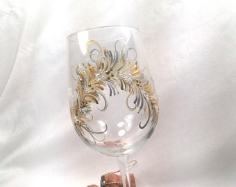 Free shipping Gold and silver hand painted wine glass