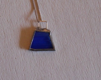 Blue Glass Necklace with Silver chain