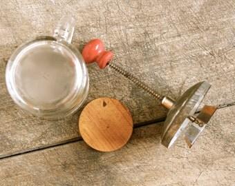 Rustic Nut Chopper Glass Measuring Cup Hand Chopper