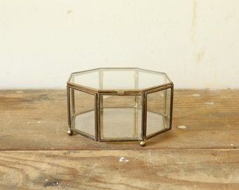 Vintage Glass and Brass Box Jewelry Trinket Dresser Container Footed Box with Hinged Lid