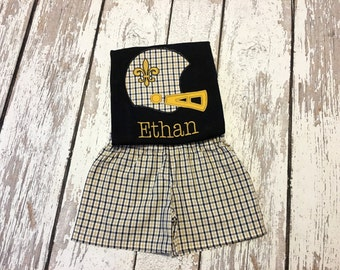New Orleans Saints black and gold boys outfit, Saints football boy short set, black and gold boys outfit