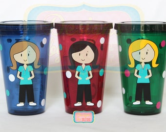 Personalized Nurse Tumbler - Dental Hygienist, RN, Labor & Delivery - Travel Cup - Nurse's Week - Choose Your Style and Colors - Great Gift