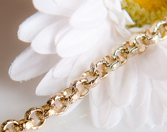 ChG016 - 6.3mm Gold Vintage Textured Rolo Chain - 3 Feet