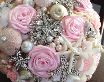 Pink Brooch Bouquet Seashell Bouquet READY TO SHIP