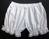 Womens Bloomers White Cotton with Lace