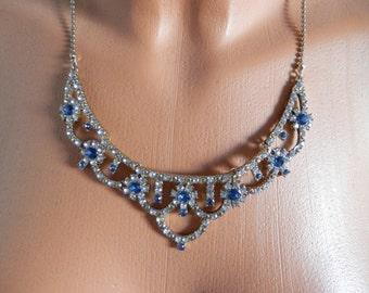 Vintage 1970s Necklace, Blue Rhinestones, Pin-Up, Antique Jewellery