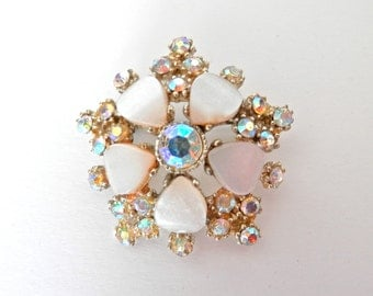Beautiful Vintage 1950s Floral Brooch, Aurora Borealis, Antique Jewellery