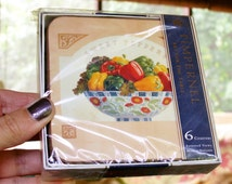 Pimpernel 6 Assorted Vegetable Bowl Scene Coasters Made in England Sealed Package