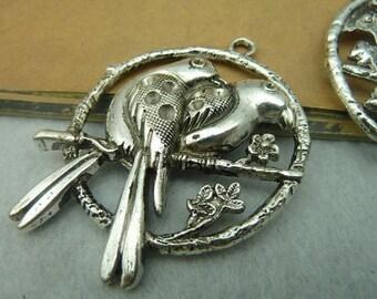 2pcs 48*62mm antique silver bird charms pendant C3798
