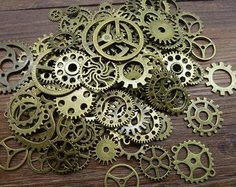 100pcs antique bronze  mix gear charms pendant