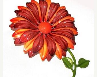 """Red Orange Flower Brooch 3 Layers Enamel & White Metal Paint BIG 3.5"""" Spring Summer Vintage"""
