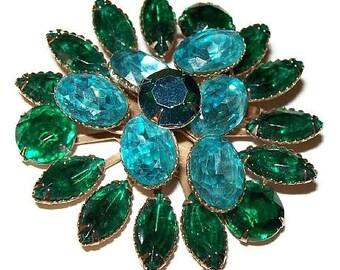 "Brooch Pin By Beau Jewels Aqua Blue & Emerald Green Rhinestones Gold Metal 2.5"" Vintage"