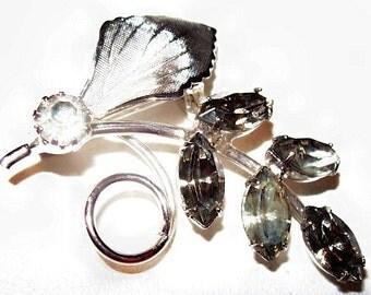 "Smoke Rhinestone Brooch Pin Leaf Design Silver Metal 1.5"" Vintage Fashion"