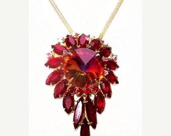 "Juliana Style Pendant Chain Necklace Red Rivoli & Marquise Rhinestones Gold Metal 17"" Vintage"