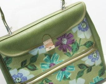 Vintage Carry On Weekender Retro Diaper Bag Floral Canvas Vinyl GREEN Turquoise Aqua Soft Sided Luggage Zipper Pockets Strap Shoulder Bag
