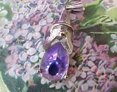 Lovely Silver Toned Vintage Pendant with Gorgeous Purple Stone-Sarah Cov.