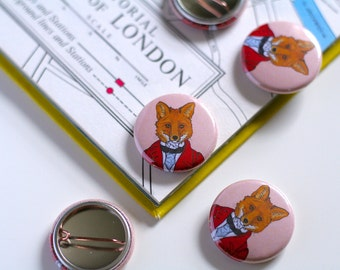 Fox Pin Badge Fox Hunter Badge Victorian Button Fox Button Animals In Clothes